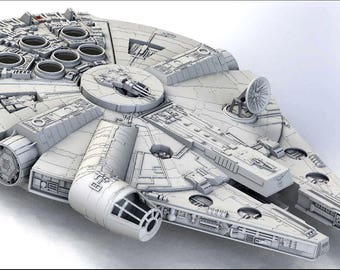 Star Wars Millenium Falcon around 1 meter 3d Printed with LED lights