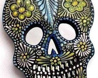 Day of the Dead Skull // Painted Wood Sugar Skull // Mexican Folk Art // LG 11x8,  #2