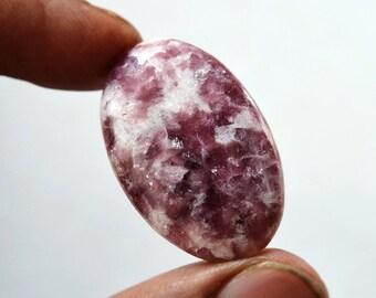 Lepidolite Gemstone Cabochon 31.5 Cts Natural Designer Lepidolite Oval Shape 31x20x6 MM R14312