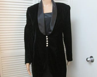 Vintage black satin trimmed spaghetti strap sheath w lined velvet satin trimmed long jacket  rhinestone and pearl buttons JR Nites vtg sz 12