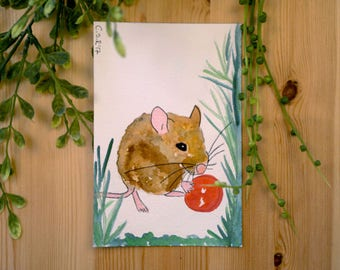 Mouse Series, wood mouse art, original watercolor art