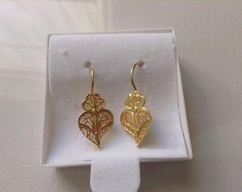 Heart Earrings Portuguese Filigree