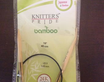 Knitters Pride Bamboo Circular Knitting Needles  16 in cable Size 9