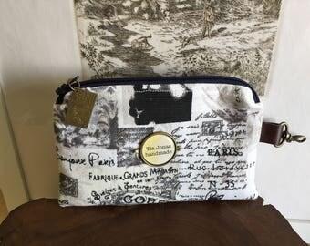 Paris style mini zippered case with postcard charm