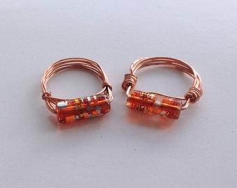 Copper Glass Bead Wire Ring Orange Summer Sunshine Ring