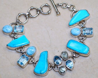 Genuine Sleeping Beauty Turquoise with Swiss Blue Topaz, Larimar and Aquamarine set in Solid 925 Sterling Silver Bracelet