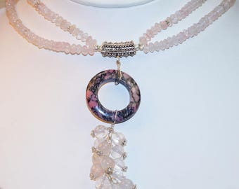 Rhodonite With Rose Quartz Beaded  set Sterling Silver Necklace
