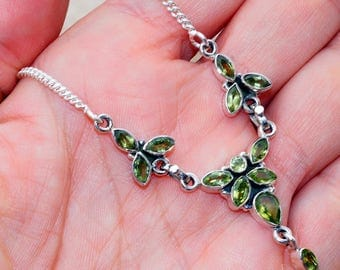 Dazzling Peridot   Set in 925 Solid Sterling Silver Necklace