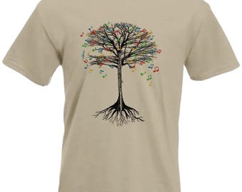 Flute T-shirt Musical Tree  in sizes Small to XXL