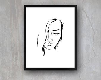Minimalist Portrait Beautiful Woman Girl INSTANT PRINTABLE DOWNLOAD Wall Art Digital Poster Print Modern Simple Black and White Line Drawing