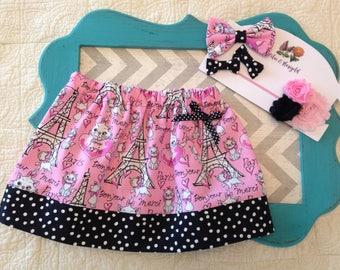 Aristocats skirt, cat skirt, Aristocats birthday outfit, Eiffel Tower skirt, girls skirt, Marie skirt, Paris skirt, black and pink skirt