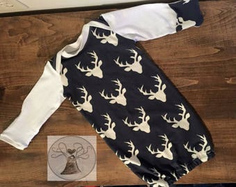 Baby Gowns   Boys gown   Deer   Sleeper   Coming Home Outfit