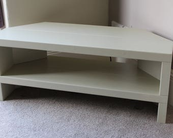 Rustic Handcrafted Chunky Painted Reclaimed corner TV Unit stand/cabinet In Farrow and Ball Old White