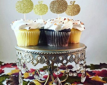 Christmas in July Sale Pumpkin Glitter Cupcake Toppers, Fall Cupcake Toppers, Thanksgiving Cupcake Toppers, Glitter Cupcake Toppers- Set of