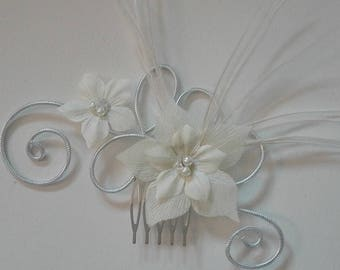 comb accessory ivory beads and transparent, purple hair flower /violet feathers wedding, party, holiday
