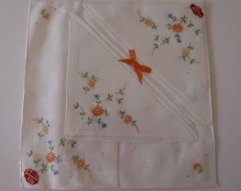 Pack of three embroidered Irish linen handkerchiefs
