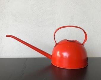Vintage Orange Metal Watering Can