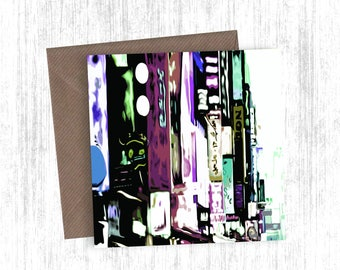 Japanese City Reflection Painting Artwork Card Set of 1, 3, 5, 10 or 20 - Christmas Cards - Greetings Cards - Black and White