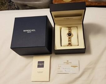 Raymond Weil Geneve #5842 Ladies 18k Gold GE Diamonds Black Dial Watch