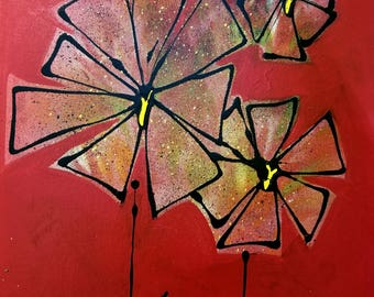 Kohlhipsi Art Original Painting, Flower, Abstract, Unique Wall Decor