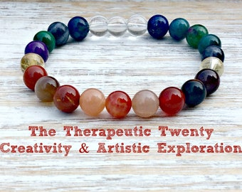 The Therapeutic Twenty Creativity & Artistic Exploration Bracelet, Sacral Chakra, Healing Crystals, Imagination - Inspiration - Creativity