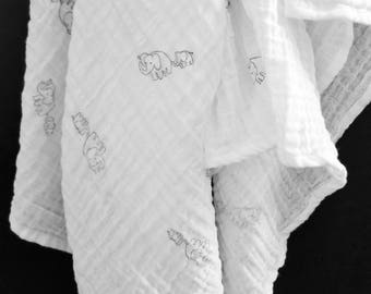 Elephant Muslin Swaddle, Double Gauze Blanket