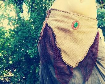 TRIBAL leather belt, skirt, hippie, boho