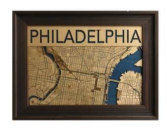 Philadelphia Wood Engraved 2D City Map - 18x26 - Laser Cut Map Decor