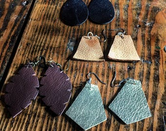 Leather Earrings - Leather Jewelry - Rustic Jewelry - Rustic Earrings - Leather Gifts - Jewelry Gifts - Metallic Leather - Upcycled Leather