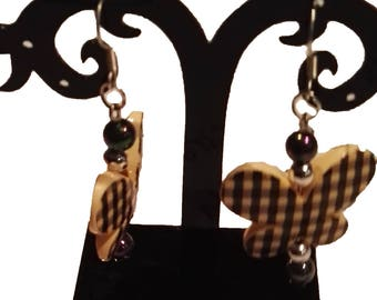 yellow and black butterfly earrings