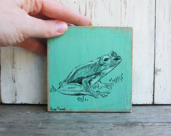 Frog Print, Kids Gifts, Miniature Picture, Cute Animals, Rustic Nursery, Kids Room Decor, Wood Sign, Nursery Art, Woodland Baby Shower