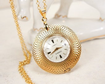 ON SALE Rare women's watch Chaika - Working small watch - Watch pendant Chaika - Gold plated AU5