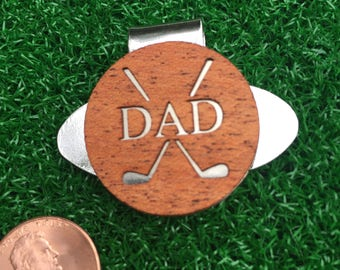 Fathers Day Personalized or DAD Mahogany Wood golf ball marker hat clip dad gift