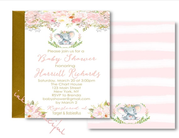 Digital file pink elephant baby shower invitation welcome like this item filmwisefo Choice Image