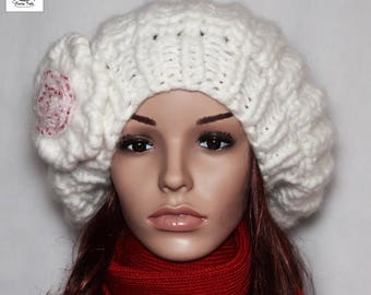 White Knit Beret White Hat White Beret Womens Accessories - White Beret, Hand Knit Hat, Women's hat, Knitted Beret, White hat, Winter hat