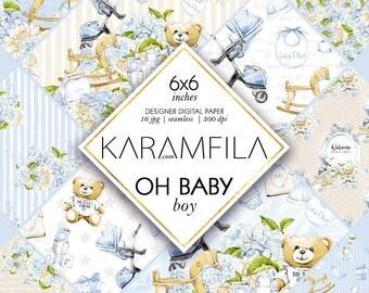 Baby Boy Digital Paper, Baby Scrapbook Paper, Baby Seamless Patterns, Welcome Baby Boy Newborn Stationery, Floral Planner Stickers Supplies.