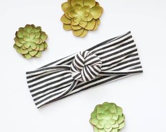 NEW 2017   Top-knot Turban Style Headband, black and white stripes