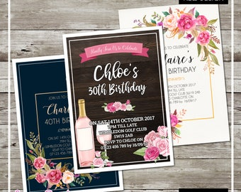 Rustic Floral Any Age Birthday Party Invitations Personalised with Envelopes - 21st 30th 40th 50th 60th 70th TEAL Flowers Wine
