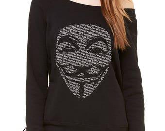 V for Vendetta / Guy Fawkes Mask Slouchy Off Shoulder Oversized Sweatshirt