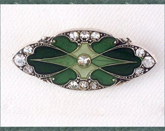 Green vintage Art Déco brooch, old style, Swarovski strass