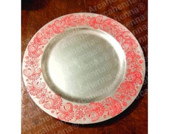 Plate decorated by hand, wedding tray