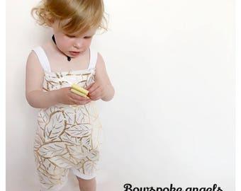 Gold leaf romper - bubble romper - girls romper - toddler girl romper - baby girl romper