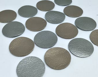 Leather Circles, Metallic Gold and Metallic Gray, 7 sizes 10mm. 15mm. 20mm. 25mm. 30mm. 35mm., Circles Die Cut, Leather Decoration.