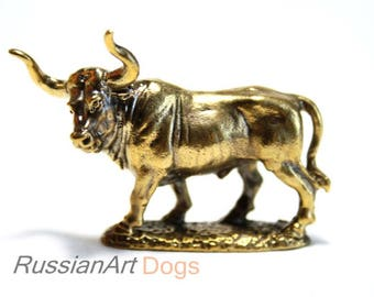Bull, Taurus - miniature statuette of bronze,  metal figurine