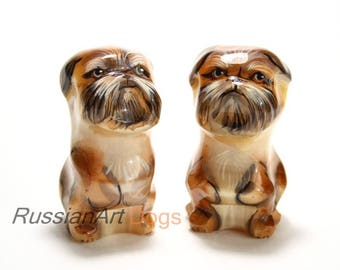 Figurine Brussels Griffon, statue of natural stone - selenite (lunarian)