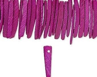 """Purple Wood Beads, Coconut Palm Tree, Wood Sticks, Dark Fuchsia, 25x4mm, 16"""" Strand, D926"""