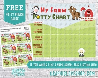 Printable Farm Animals Potty Training Chart, FREE Punch Cards   High Resolution JPG File, Instant Download, Files are NOT Editable