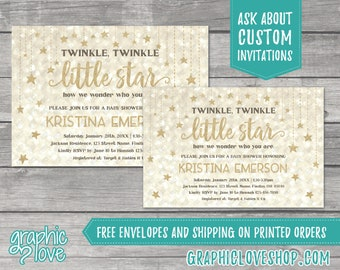 Twinkle, Twinkle Little Star Baby Shower Invitations | 4x6 or 5x7, Digital File or Printed