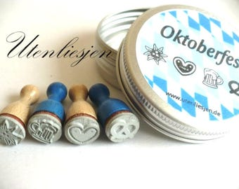 4 octoberfest stamps in aluminum box, clouds, sun, rain, lightning, Ø 12 mm