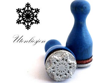 Stamp mini, snowflake no.3, winter, ice crystal, rubber stamp Ø 11 mm